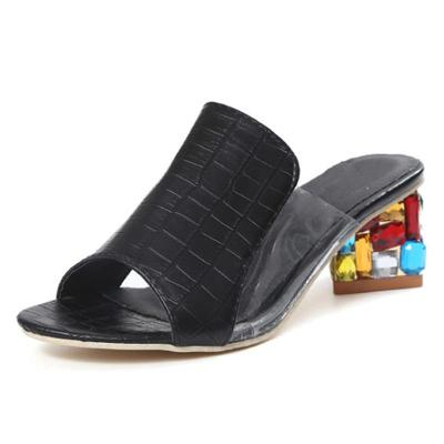 Summer Women Thick Crystal Heel Sandals Transparent PVC Patchwork Beach Slides Woman Fashion