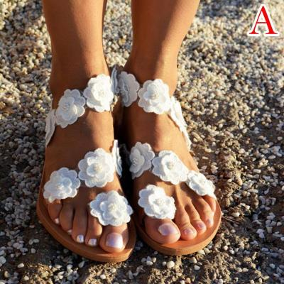Beach Sandals For Women Vintage Sandals Fashion Flower Plus Size Beach Flat Shoes