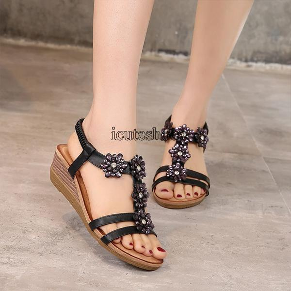 Ladies Sandals Bohemian Sandals 2020 Retro Slope Heel Rhinestone Round Head Large Women's Shoes