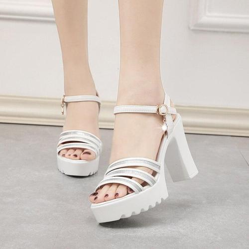 Summer Crystal Ankle Strap Gladiator Sandals Woman Thick Heel Shoes Womens Super High Heels Platform Sandals