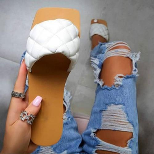 Women's Fashion Flat Slippers Square Head Casual Wild Large Size Women's Shoes Comfortable Slippers