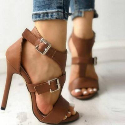 Women Gladiatoe Sandals Buckle Decoration Platform Thin High Heels Solid Elegant Retro Wedding Ladies Shoes Zapatos De Mujer