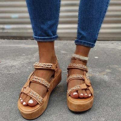 NEW Women's Sandals Summer Fashion Thick Bottom Leopard Snake Print Ladies Shoes Plus Size Dress Wedding Female Shoes