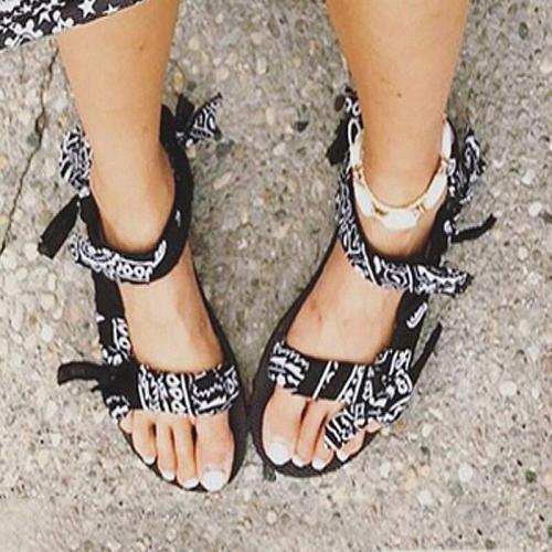 Women's Flat Sandals Summer Outdoor Beach Shoes Open Toe Graffiti Style Casual Sandals
