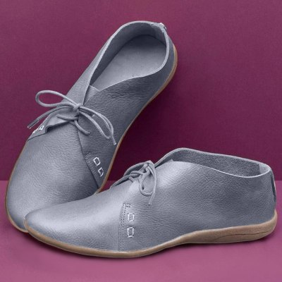 Plus Size Flat Shoes Lace Up Leather Sneakers Loafers Women Casual Flats Oxford Shoes Female Shoes