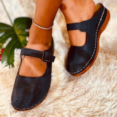 Sandals Ladies Shoes Leather Sandals Flats Retro Style Women Shoes