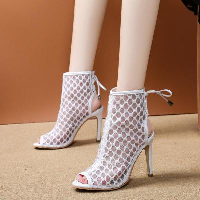 Breathable Mesh Peep Toe Sandals Women Lace Up Party Shoes Woman Summer Ladies Cool Boots Sexy Stiletto High Heels