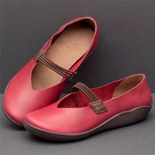 Women Simple Vintage Flat Heel Slip-on Shoes