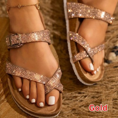 Women Sandals Flat Bottom Open Toe All-match Sexy Roman Solid Color Plus Size Female Casual Sandals
