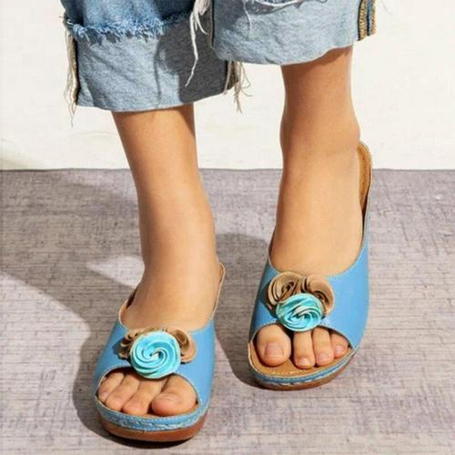 Summer Women Sandals Flower Wedges Ladies Open Toe Casual Shoes Platform Flip Flops Wedge Sandals Beach Shoes