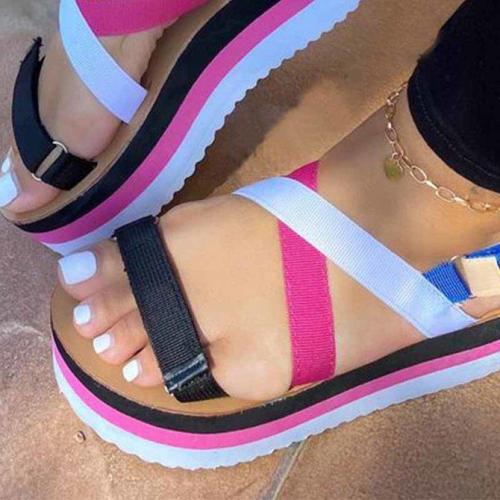 Hot Sale Flat Strap Summer Sandals Woman Shoes Mixed Colors Platform Shoes Women Sandals Sandalia Feminina