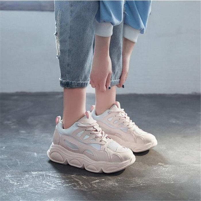 Chunky Sneakers Thick Bottom Daddy Shoes New Casual Round Toe Breathable Outdoor Women Shoes