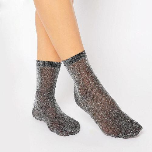 Top Quality Women's Novelty Glitter Socks Thin Gold Sliver Shiny Ankle Socks Ladies Bright Short Sox Sock Female