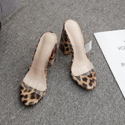 Women Slippers Square High Heels Summer Strap Outdoor Elegant Leopard Shoes