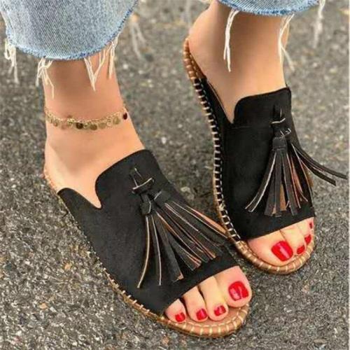Women's Shoes Summer Slides Fashion Wear Tassel Sandals Slippers