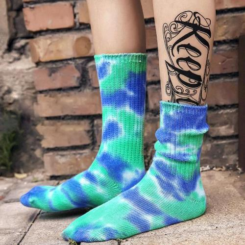 New Arrivals Women Men Tie Dye Printed Socks Cycling Running Jogging Hiking Skating Fashion Couple Gift Sox Colorful Socks