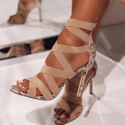 Women Summer Sandals Stretch Fabric Thin High Heel Peep Toe Platform Fashion Sexy Wedding