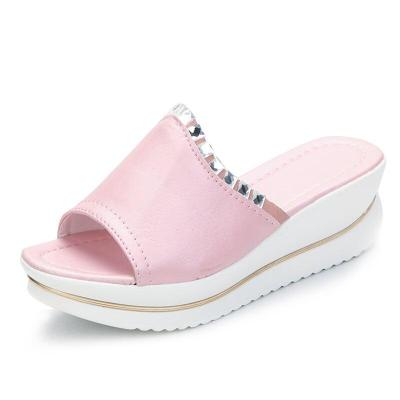 Women Wedges Slippers Platform Ladies Slides Summer Sandals Crystal Beach Shoes