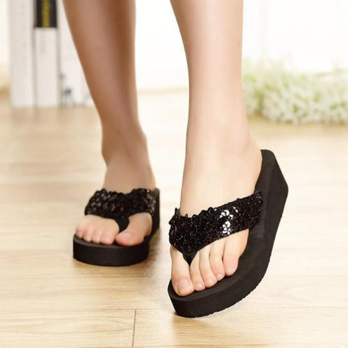 Women Slippers Summer Outdoor Women Slippers Ladies Sequins Platform Wedges Beach