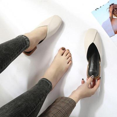 Fashion Summer Women Casual High Heel Closed Toe Mules Chunky Heel Wild Flip Flops Slides Sandals
