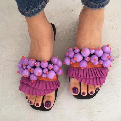 Beads Flip Flop Slip-On Flat With Casual Slippers