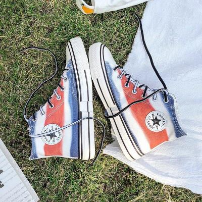 Spring New Mixed Colors Couple Chic High-top Casual White Canvas Women's Shoes