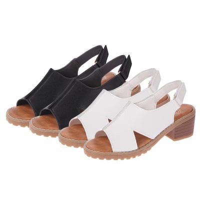 2020 Summer New Women's Sandals Roman Women's Shoes Chunky Heel Middle Heel