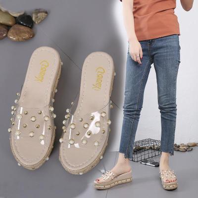 Wedges Sandals Women's Summer Versatile Pearl Transparent Sexy Slope Heel Slippers