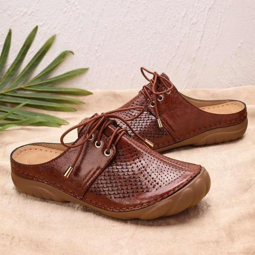 Flat Shoes Mules For Women PU Leather Round Head Sandals Women Slip On Flip Flops Women Slipper