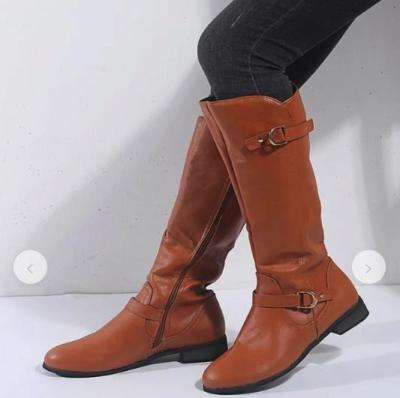 Women Shoes Fashion Winter Low Heels Hot Sale PU Leather Women Boots High Boots Casual