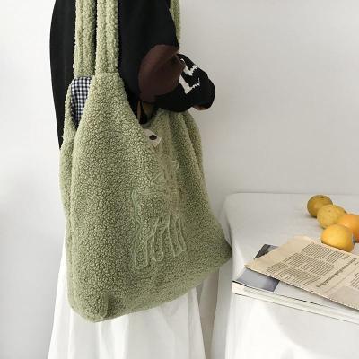 Women Lamb Fabric Shoulder Bag Canvas Handbag Tote Large Capacity Embroidery Bag Cute Bags For Girls