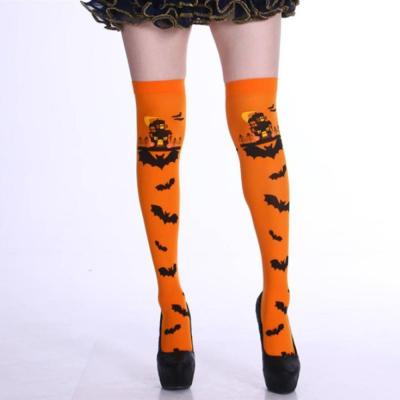 Halloween Stockings Bat Castle Socks Cosplay Stockings Ghost Festival Party Variety of Shapes and Printing Women Adult Polyester