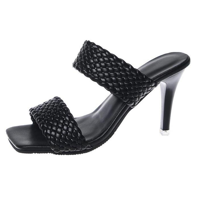 Leather Slippers Square Toe High Heels Ladies Sandals Stiletto Dress Shoes