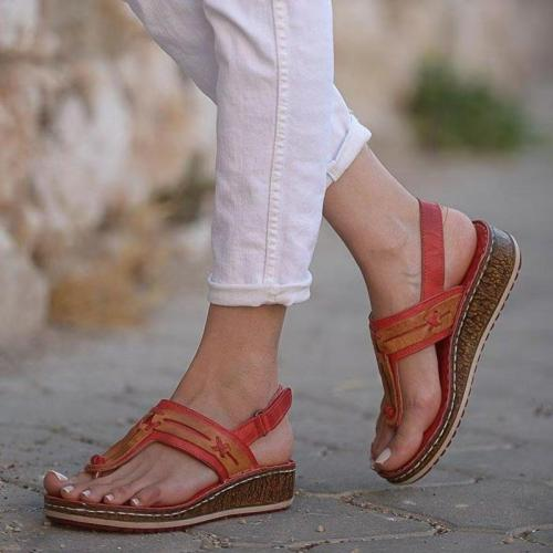Women Slip OnSandals Summer Wedge Casual Comfy Thong Slingback Lightweight Buckle Strap Shoes Beach Peep Toe Female Sandals