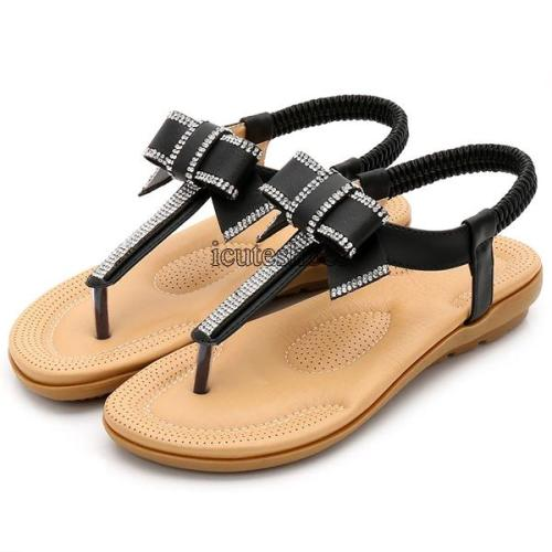 Summer Korean bow sandals Bohemia water drill sandals flat sole flat heel beach shoes women shoes