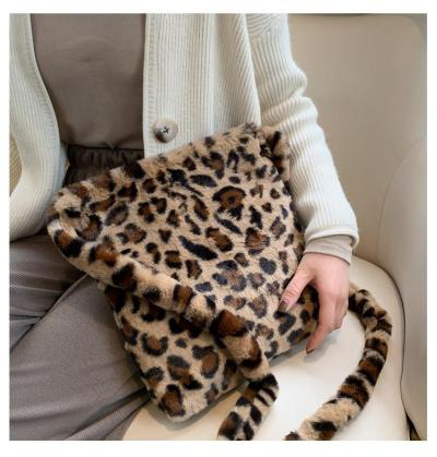 Fashion Leopard Print Crossbody Bag Women Plush Soft Casual Shoulder Messenger Bag Fluffy Female Handbag