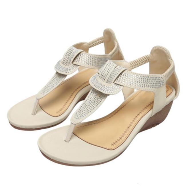 Women's Sandals Flip Flops Women Crystal Bohemian Elastic Band Wedges Female Casual Shoes