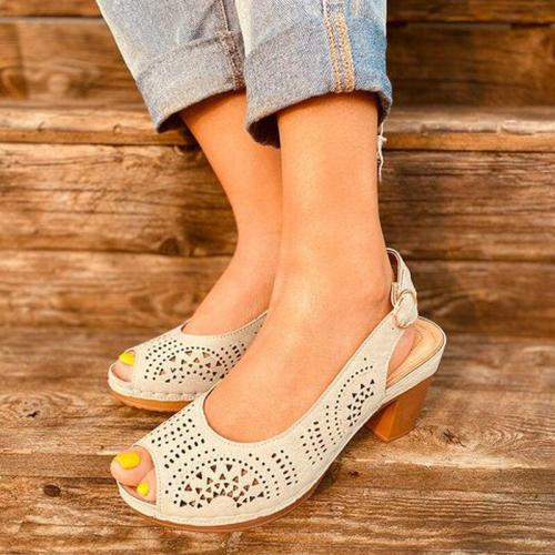 Women Summer Pumps High Heels Plus Size Shoes Woman Peep Toe PU Leather Buckle Strap Sandals Female