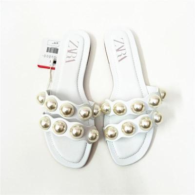 Women Shoes Summer Slippers Women Pearl Decoration Slides Women Flat Slippers