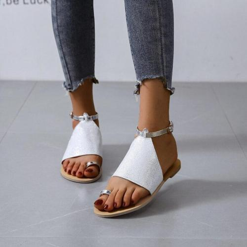 2020 Summer New Woman's Sandals Flat Beach Shoes Open Toe Fashion Comfortable Pure Color Sequins Plus Size 42