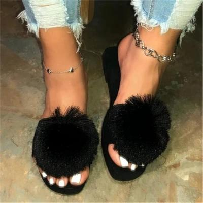 Tassel Woman Slippers Summer Flat Ladies Slip-on Beach Shoes Female Open-toe Soft Flock Outdoor Shoes
