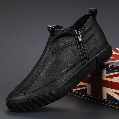 2020 Autumn Fashion Men's Short Boots Two Side Zipper High Top Pu Leather Casual Shoes Men Wearable Leisure Flats
