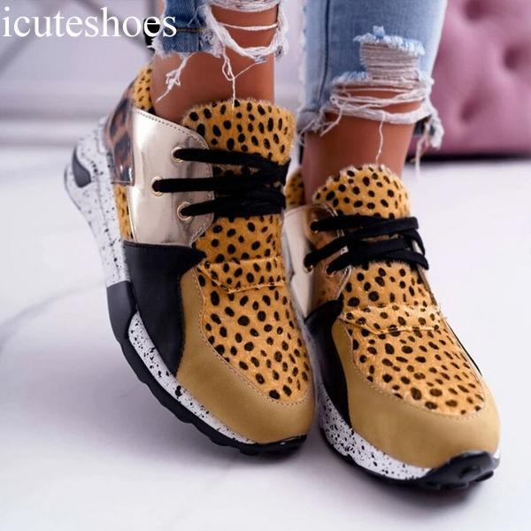 New Women Casual Shoes Breathable Sneakers Leopard Print Faux Fur Sneakers Lace-up Platform Sports Shoes Women