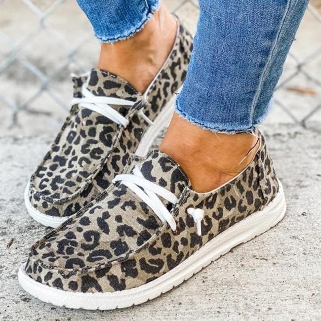 Leopard Sneakers Women's Shoes Solid Slip On Casual Flats Women Shoes Fashion Ladies Walking Shoes Plus Size