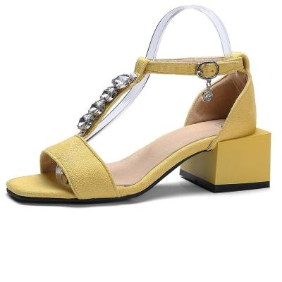 Concise t-strap Sandals Med Chunky Heels Sandals Women Fashion Crystal Decorating Shoes Woman