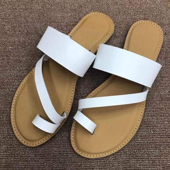 Fashion Summer Women Outside Slippers  Ladies Leather Black Blue Slip-on Slides Beach Shoes Size