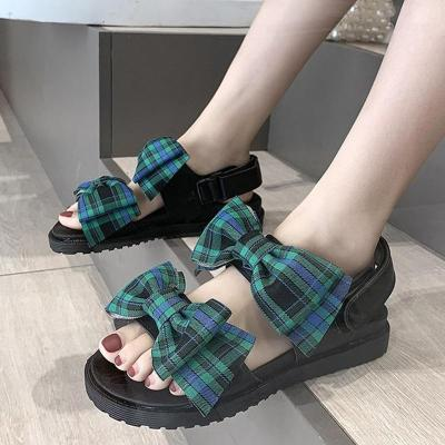 Casual Big Bow Sandals for Women Summer Ankle Strap Flat Sandalias Woman Comfort Non Slip Shoes Female