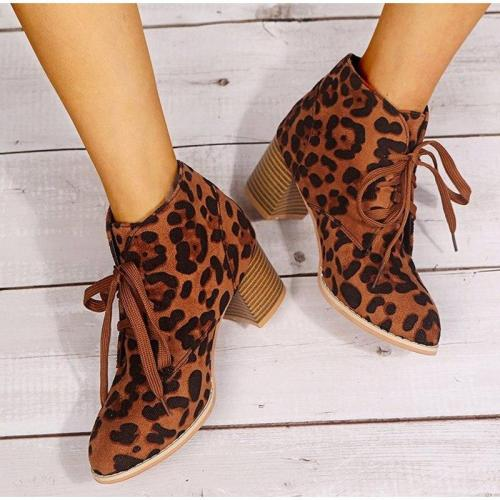 New Women Leopard Ankle Boots Female Shoes Autumn Ladies Soft Comfort Print Chunky Heels Lace Up Boots