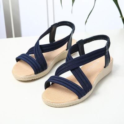 Women's Sandals 2020 Summer New Women's Shoes Cross Slope Heel Beach Shoes