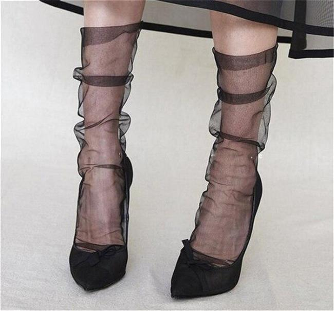 Colors Women's Novelty Ultra-Thin Loose Chiffon Mesh Socks Sexy Ladies Transparent Gauze Socks Piles Sock Sox Female